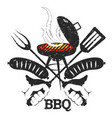 grill sausages silhouette vector image