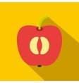Half of fresh red apple flat icon vector image vector image