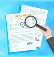 hand examining resume forms vector image