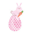 happy easter rabbit with carrot in big egg vector image