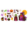 happy halloween hand drawn stickers icons vector image