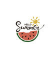 hello summer lettering with watermelon vector image vector image