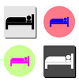 hotel room bed flat icon vector image vector image