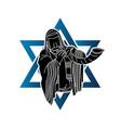 jewish blowing shofar horn cartoon graphic vector image