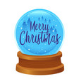 merry christmas writing on a snow globe vector image