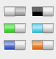 on and off colored slider buttons vector image