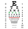 Optical eye test with pull message vector image vector image