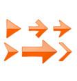 orange arrows shiny 3d glass icons vector image vector image