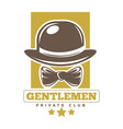private gentlemen club logotype with hat and tie vector image vector image