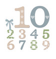 realistic plywood numbers vector image vector image
