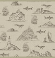 seamless pattern with hand-drawn islands and vector image
