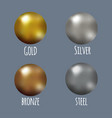 set of realistic gold silver bronze and steel vector image