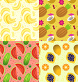 set of seamless pattern with tropical fruit vector image
