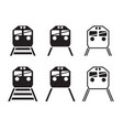 set of train icon in silhouette vector image vector image