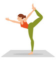 side view of slim woman standing in yoga pose vector image vector image