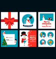 snowman greeting card new year posters with vector image vector image