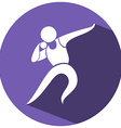 Sport icon for shotput on round badge vector image vector image