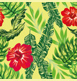 tropical hibiscus green plants pattern vector image vector image