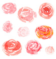Watercolor flowers floral collection vector image vector image