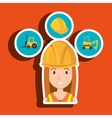 woman construction tool lift truck vector image vector image