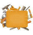 wooden board with carpentry tools vector image vector image