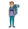 young tourist man cartoon vector image vector image