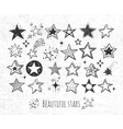 collection of grunge doodle stars on rice paper vector image