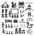 Kindergarten Preschool Mono Icons Set vector image