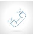Blue flat line handset icon vector image