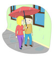 a couple walking down the street in the rain vector image vector image