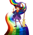 A witch at the rainbow vector image vector image