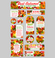 autumn tags acorn leaf pumpkin greeting vector image vector image