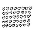 black heart shape grunge brush set hand drawn vector image