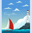 blue sea with yacht and lighthouse vector image