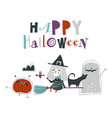 cartoon cute halloween on white vector image vector image