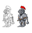 cartoon medieval confident knight with morgenstern vector image vector image
