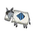 cartoon sleeping donkey sketch engraving vector image vector image