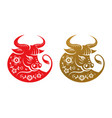chinese new year symbol isolated ox with flowers vector image