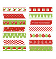 christmas washi tapes set scotch lines vector image