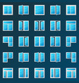 colorful window icons set - plastic windows vector image