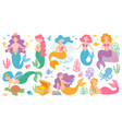 cute mermaids fairytale underwater princess vector image
