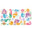 cute mermaids fairytale underwater princess vector image vector image