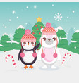 cute polar bear and penguin with candy cane merry vector image vector image
