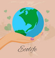 ecolife with human hands holding earth globe save vector image