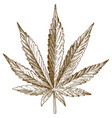 Engraving drawing of cannabis leaf
