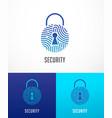 fingerprint scan logo privacy lock icon cyber vector image