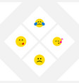 flat icon expression set of sad cold sweat vector image vector image
