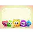 Funny background with cute shape characters vector image vector image