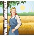 Girl birch wheat vector image vector image