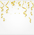 gold confetti falling and serpentine and ribbons vector image vector image